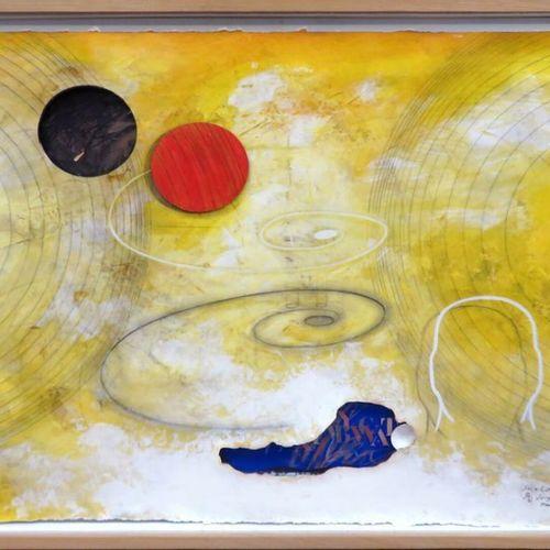 """SERGE ABRIL (NE EN 1949) """"SOLEIL ROUGE SOLEIL NOIR"""" TECHNIQUE MIXTE SUR PAPIER, …"""