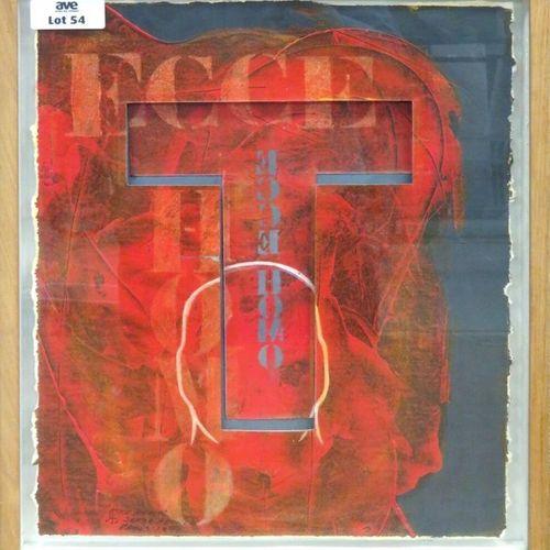 """SERGE ABRIL (NE EN 1949) """"ECCE HOMO"""" TECHNIQUE MIXTE SUR PAPIER, SIGNEE, TITREE …"""