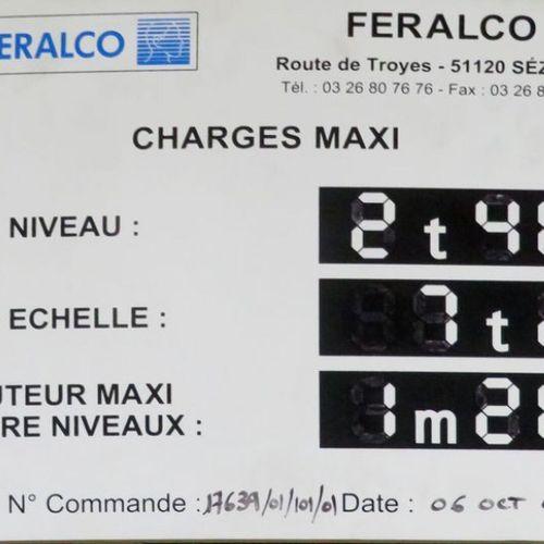 RACK METALLIQUE LOURD BLEU ET ORANGE DE MARQUE FERALCO COMPRENANT 3 BAIES DE 2 E…