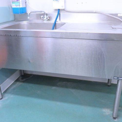 PLONGE A 1 BAC ADOSSEE EN INOX ALIMENTAIRE DE MARQUE HMI THIRODE VENDUE AVEC MIT…