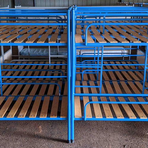 6 bunk beds with mattresses and 8 without mattresses, size 127 x 65 x 139 cm. Se…