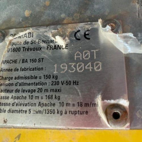 LEVE TUILES 15M CHARGE MAXI 150KG COMABI APACHE BA 150 ST Energie : EL Observati…