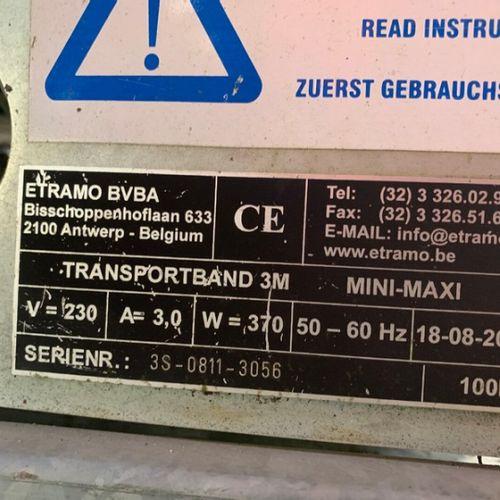 LOT DE 3 BANDES TRANSPORTEUSES DE 3M 230V ETRAMO TRANSPORT BAND 3M 2011 Année : …