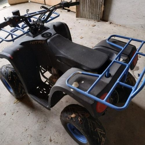 Quad 125 cc NITRO brand, tires in good condition, no key, wear mark on fairing. …
