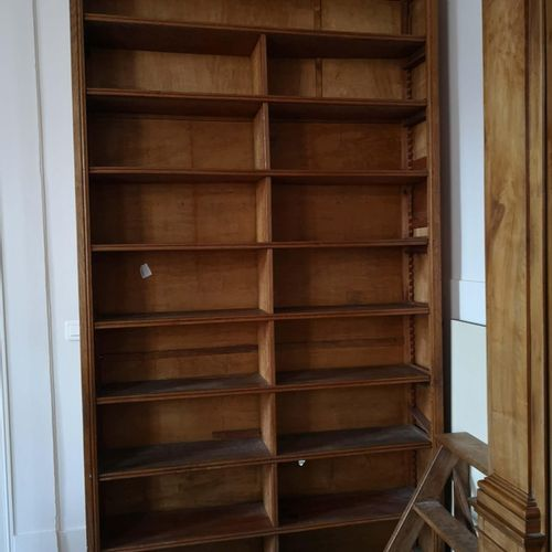 Set of solid wood library furniture (disassembled) composed of: A high cabinet w…