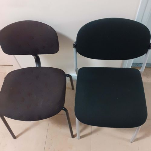 Furniture set including: 2 black chairs 2 red armchairs (1 damaged) 1 grey desk …