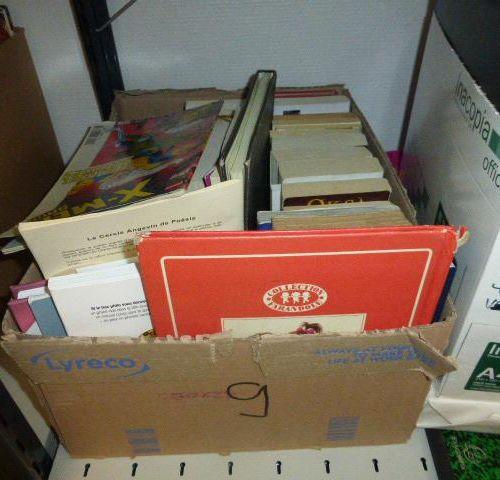1 set of 98 books. 1 old model typewriter School material (calculators, notebook…