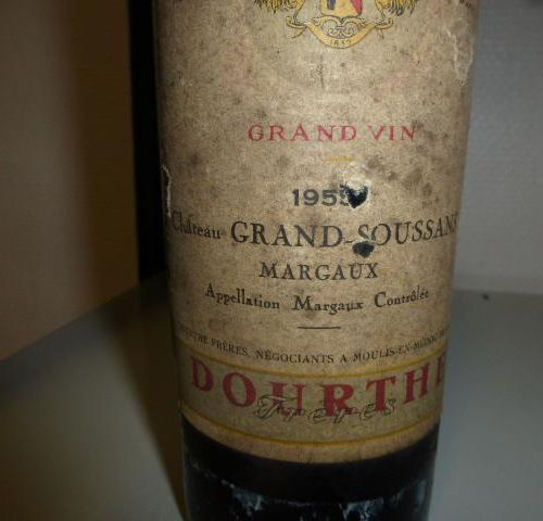 1 bottle of red wine labelled Château GRAND SOUSSANS MARGAUX of 1955. Collection…