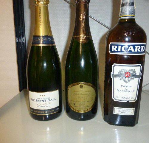 1 bottle of champagne DE SAINT GALL 1 bottle of RICARD 1 bottle of touraine wine…