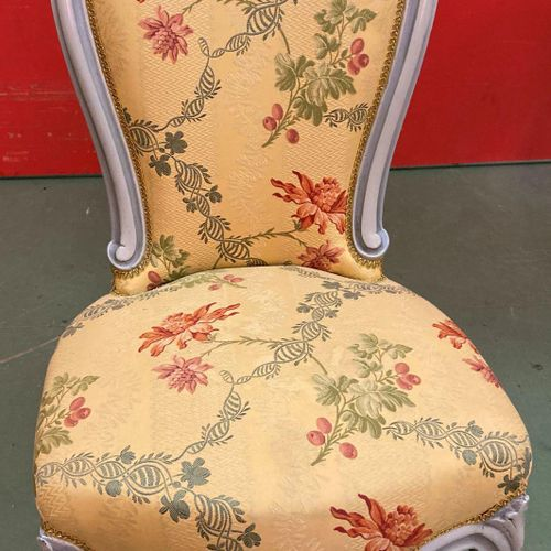 1 Louis Philippe chair in green striped fabric with melted wood backrest, 1 chai…