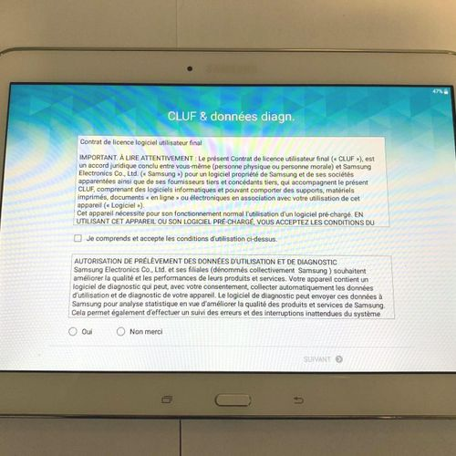 SAMSUNG Galaxy tab4 shelf, model SM T530, 16Gb, serial no. R52G10X2HFZ, without …