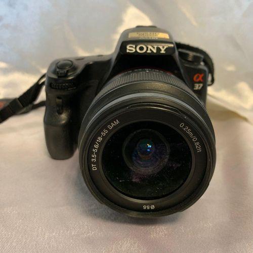 SONY Alpha SLT A37 camera, 18 55mm lens, swivel screen, no connectors. Location:…