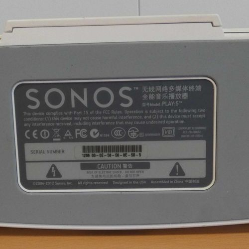 SONOS speaker system, play 5 model, high rear scratches, without connectors. Pla…