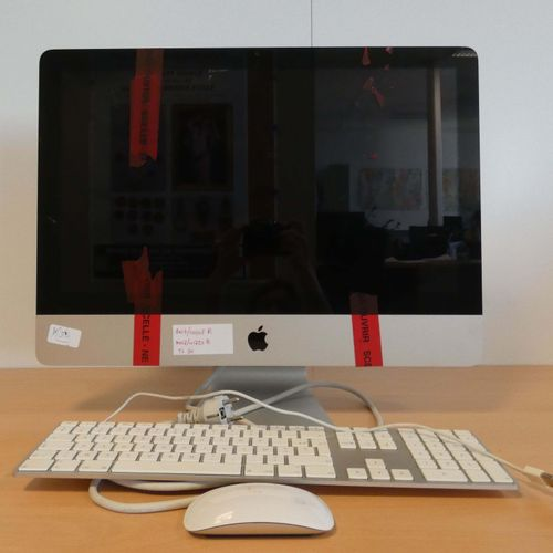 APPLE iMac, Model A1311, No. C17FKMZEDHJF, with keyboard and mouse, taped over t…
