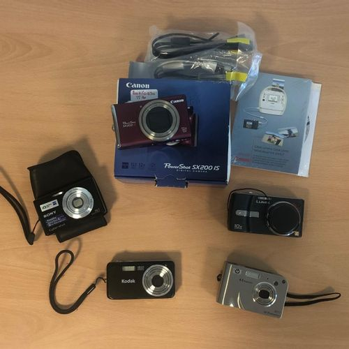 Pack of 5 cameras with or without connectors: CANON PowerShot SX200IS, X12 optic…