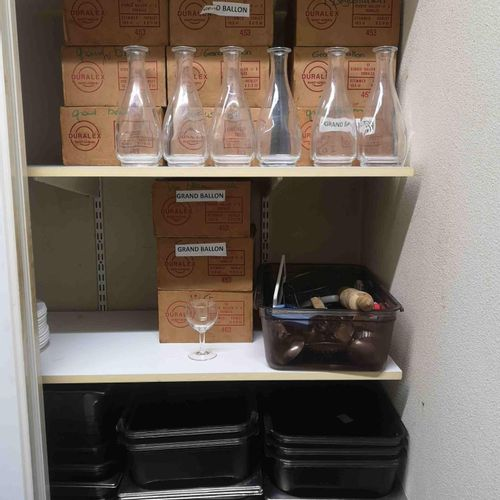 Tableware including: carafes stemmed glasses sideboard + trays + water glasses t…
