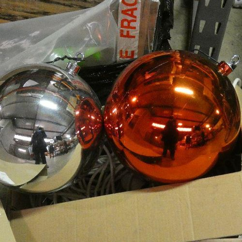 48 Gold and other coloured decorative balls. Diam 40cm As new Removal at the buy…