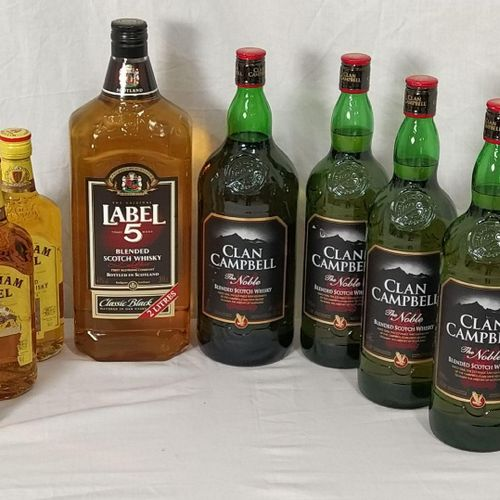 Ensemble de 8 bouteilles d'alcool composé de :  1 whisky CLAN CAMPBELL 1.5 L  …