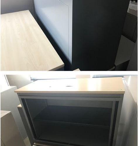 Lot de mobilier, état d'usage, comprenant: 3 meubles bas. Un mesurant 130cm de h…