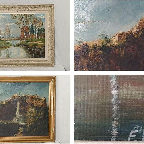Lot de 2 tableaux composé de: 'Paysage à la cascade' représentant Salles la Sour…