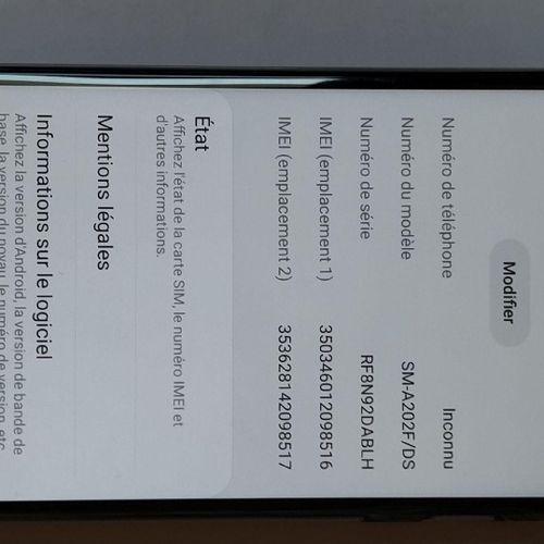 Smartphone SAMSUNG Galaxy A20e modèle SM A202F/DS, n° de série RF8N92DABLH, IMEI…