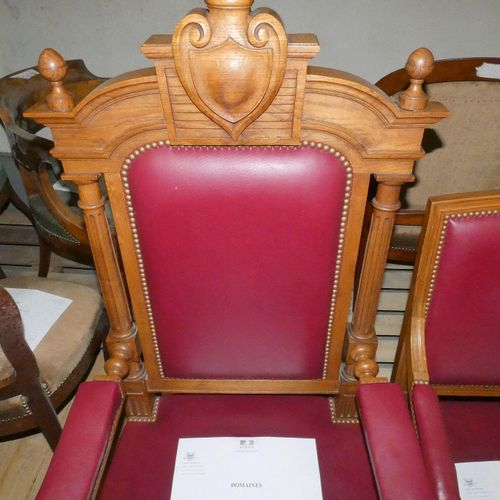 Set of 16 Empire style armchairs in red leatherette. No assistance will be provi…