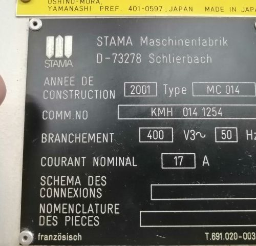 Centre d'usinage STAMA FANUC  MC014  ANNEE 2001    POCHONS