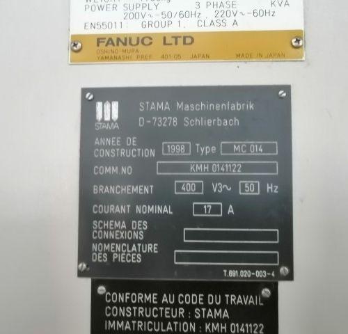 Centre d'usinage STAMA FANUC  MC014  ANNEE 2002    POCHONS